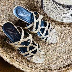 Donald J Pliner Sand Crocco High Heel Sandals